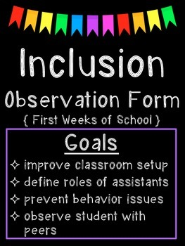 Inclusion Observation Form: First Weeks of School