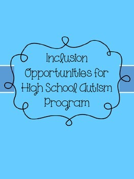 Inclusion Resource for an Autism Classroom (FREEBIE)