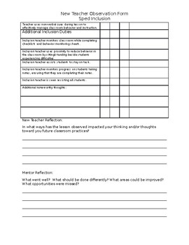 Inclusion Teacher Observation Form