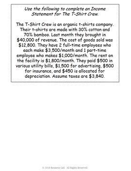 Income Statement T-Shirt Business Scenarios
