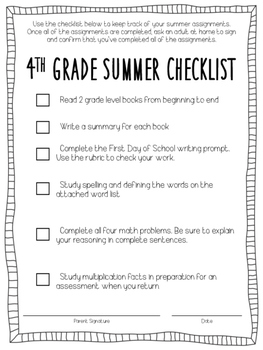 Incoming 4th Grade Summer Packet