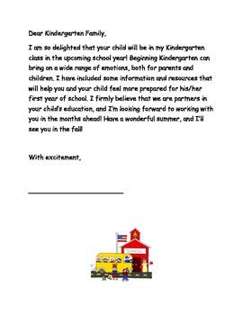 Incoming Kindergarten Student Summer Packet