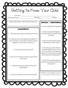 Incoming Kindergarten Survey for Parents - Getting to Know Your Child
