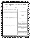 Incoming Kindergarten Survey for Parents - Getting to Know