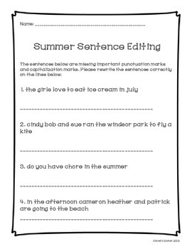 Incoming Third Grade Summer Review Packet