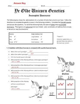 Incomplete Dominance Activity Blending Worksheet Unicorn Genetics BWColor Bundle
