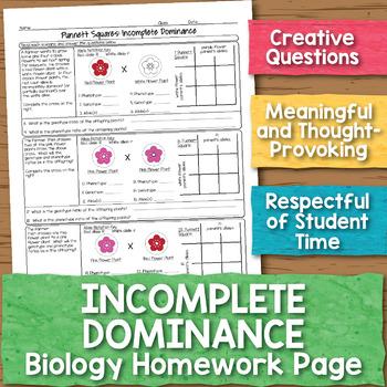 Incomplete Dominance Punnett Squares Biology Homework Worksheet