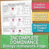 Incomplete Dominance Punnett Squares Biology Homework Worksheet