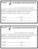 Incomplete Homework Notice