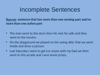 Incomplete Sentences Powerpoint