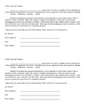 Incomplete/Unfinished Classwork Parent Letter