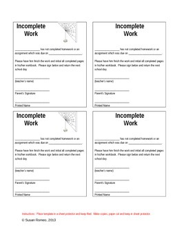 Incomplete Work - For Parents Review