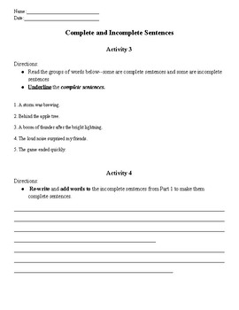 Incomplete and Complete Sentences Activity Pack