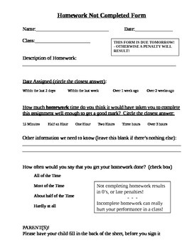 Incomplete homework form