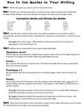 Incorporating Quotes: A Student Step-By-Step Help Sheet