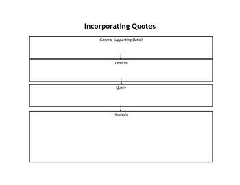 Incorporating Quotes Graphic Organizer