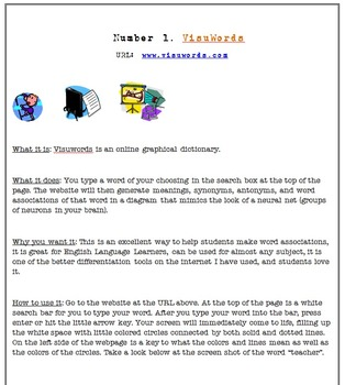 Incorporating Technology with Visuwords: Vocabulary Ideas and Printables