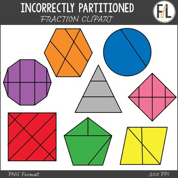 Incorrectly Partitioned Fraction Clipart