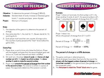 Increase or Decrease - 7th Grade Game [CCSS 7.RP.A.3]