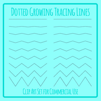 Increasing Amplitude Zig Zag Dashed or Dotted Tracing Lines for Pen Control