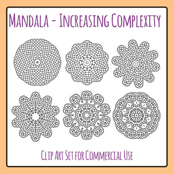 Increasing Complexity Mandalas Color In Clip Art Set for Commercial Use