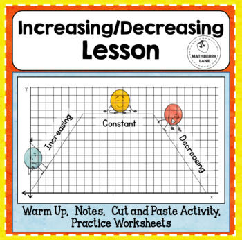 Increasing Decreasing Intervals of Functions Lesson Practice Worksheets Activity