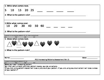 Increasing Patterns Assessment - Saskatchewan Curriculum