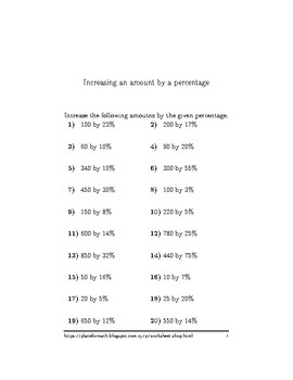 Increasing an amount by a percentage