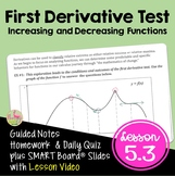 Calculus First Derivative Test with Lesson Video (Unit 5)
