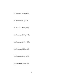 Increasing or decreasing an amount by a percentage (non-calculator)