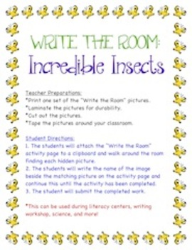 Incredible Insects - Write the Room Activity