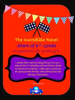 Incredible Race - Start of 6th Grade Math