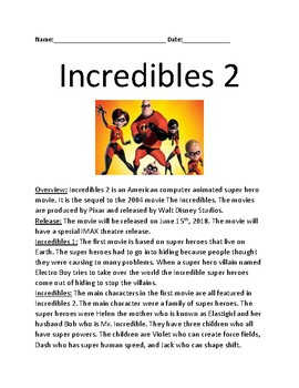 Incredibles 2 - Movie review history facts characters lesson with questions