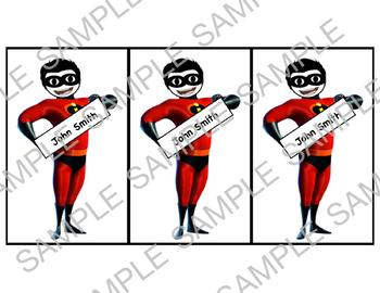 Incredibles Classroom Themed Name Decal Cards