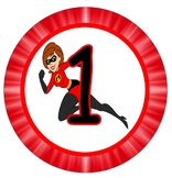 Incredibles themed table signs with and without numbers