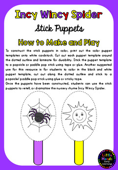 Incy Wincy Spider Nursery Rhyme Puppets