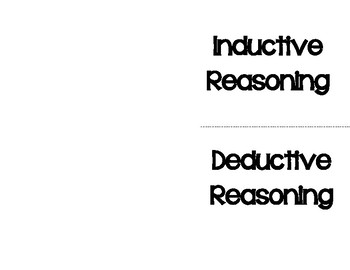 Indeductive Vs. Deductive Reasoning Foldable