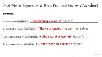 Indefinite Adjective (Moi-Meme) with Stress Pronoun Review: French Quick Lesson