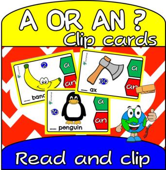 Indefinite Article Clip Cards