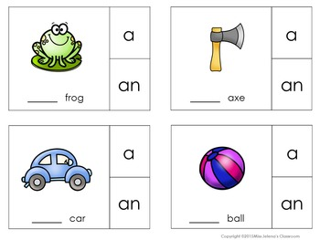 Indefinite Article Clip It Cards