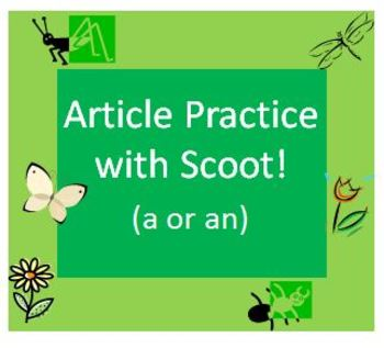 Indefinite Article Practice with Scoot Game for Spring Grammar Review