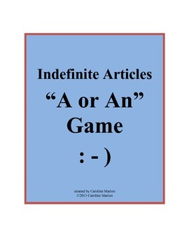 """Indefinite Articles """"A or An"""" Game"""