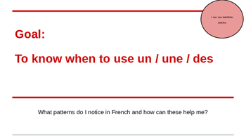 Indefinite Articles Introduction - French