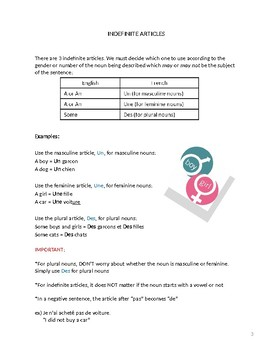 Indefinite Articles Notes and Practice Worksheet