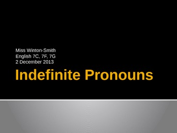 Indefinite Pronoun Power Point
