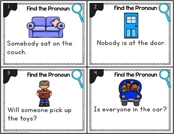 Indefinite Pronoun Task Cards with Poster: Fun Grammar Activities