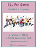 Indefinite Pronouns 3 Photo Worksheet Set