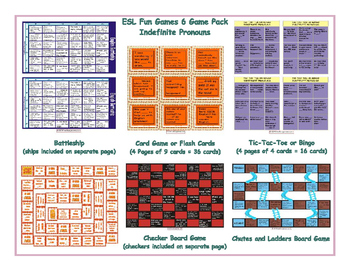 Indefinite Pronouns 6 Board Game Bundle
