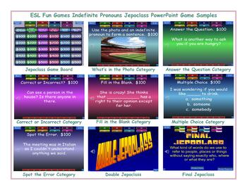 Indefinite Pronouns Jeopardy PowerPoint Game