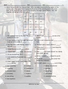 Indefinite Pronouns Magic Square Worksheet